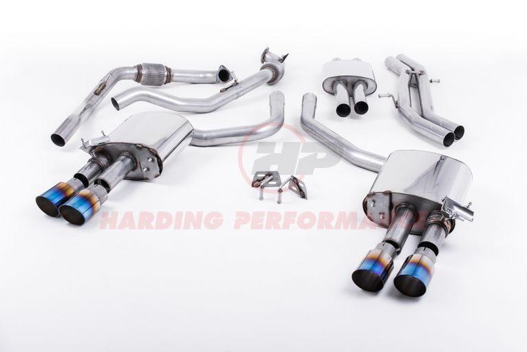 Milltek Sport Cat-back - Audi S4 B9, Saloon/Sedan (Non Sport Diff Cars), Resonated, Quad GT-90 Burnt Titanium Trims [SSXAU647]