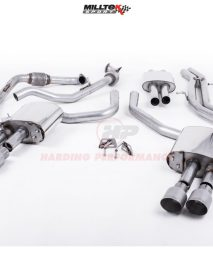 Milltek Sport Cat-back - S4 B9 (Sport Diff Models Only), Resonated, Quad GT-100 Titantium Trims EC Approved [SSXAU696]