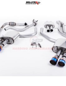 Milltek Sport Cat-back - S4 B9 (Sport Diff Models Only), Resonated, Quad GT-100 Burnt Titanium Trims EC Approved [SSXAU697]