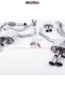 Milltek Sport Cat-back - S4 B9 (Sport Diff Models Only), Resonated, Quad Polished Oval Trims EC Approved [SSXAU698]